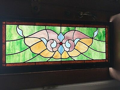 Antique American Stained Glass Transom Window