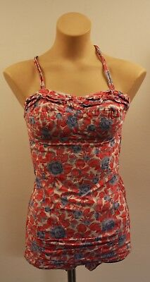 SMALL,ORIGINAL VINTAGE 1950s PINK AND BLUE  WOMENS BATHERS.