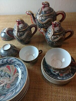 Vintage Dragon Japanese Porcelain Tea Set Satsuma Moliage Geisha Lithophane