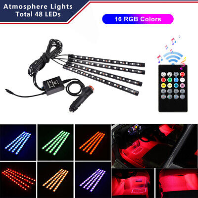 4PCS 48 LED Car Interior USB Atmosphere Lights Strip Wireless IR Remote Control