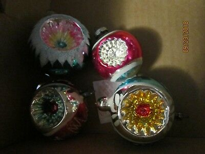Antique Misc  Lot of 4 glass metalic endent ORNAMENTS SHINY BRIGHT WEST GERMANY