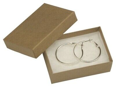 """100 Natural Kraft Earrings Jewelry Boxes 3 1/16 x 2 1/8 x 1"""""""