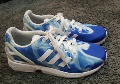 sports shoes 07e52 17b97 Euc Older Girls Boys blue white smoke Adidas Torsion ZX Flux trainers size  4 ☆