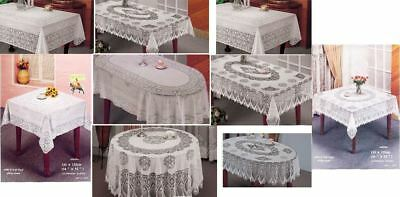 Vinyle Lace / Crochet Table Cloth White Tablecloth 100% Vinyle Embossed Cover