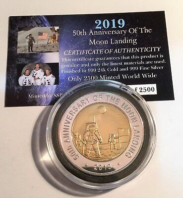 "2019 ""50th Anniversary Of The Moon Landing"" 43 mm Coin, Limited to 2500 C.O.A"