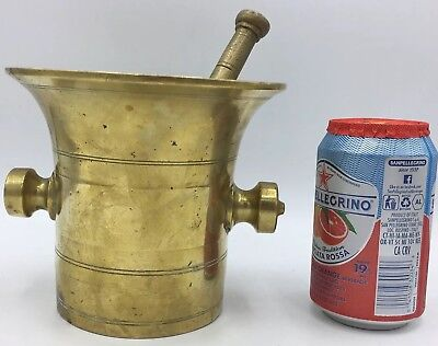Rare Antique Apothecary Pharmacy Mortar & Pestle Heavy Brass w/ Makers Mark