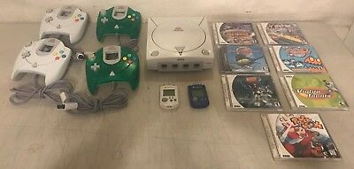 Sega Dreamcast White Console W/ 4 Controllers, 8 Games & 2 Memory Cards