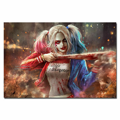 Harley Quinn - Suicide Squad Superheroes Hot Movie Art Silk Poster 8x12 24x36