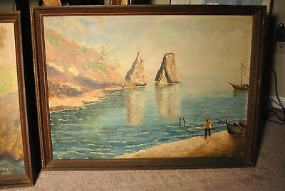 Pair of Antique Oil Paintings - Centerville, Delaware - SIGNED Roby