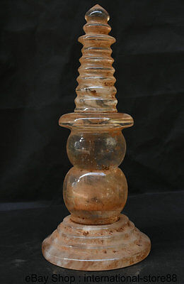 Collect Rare Old Tibet buddhism Fane Crystal Carving Relic Tower stupa Pagoda