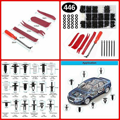 446pcs Car Body Retainer Push Type Pin Rivet Trim Clip Panel Moulding Kit