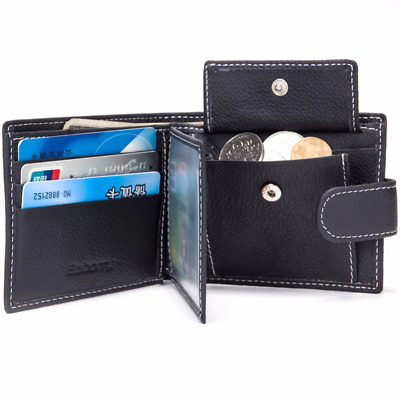 Cool Genuine Cow Leather Men Wallet Coin Pocket Thin Purse Card Holder Slim