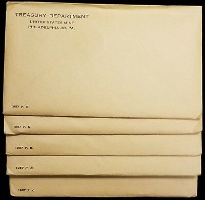 Lot of (5) 1957 U.S. Mint Silver Proof Sets Sealed Unopened Original Envelopes