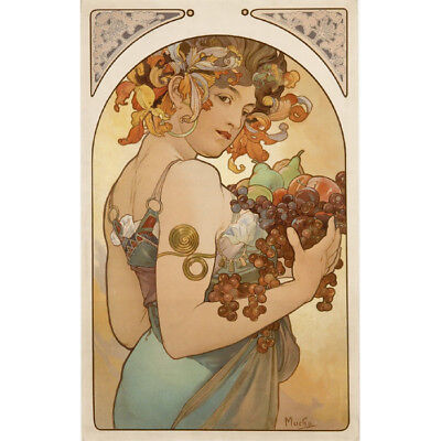 HD Canvas Painted Painting Decor Fruit 1897 by Alphonse Mucha Multi Sizes#P554