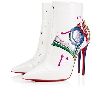 91b41854759 NIB Christian Louboutin Boot In Love 100 White Red Patent Heel Ankle Bootie  36