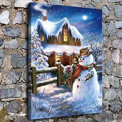 """12""""x16""""Christmas Snow man HD Canvas Print Painting Home Decor Wall Art Picture"""