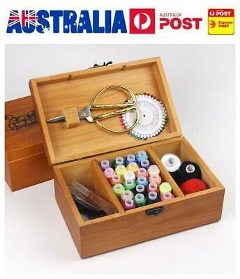 Wooden Sewing Box Sewing Kit Sewing Accessories for Camping Home Kids Travel