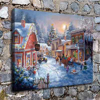 """12""""x16""""Christmas landscape HD Canvas Print Painting Home Decor Wall Art Picture"""