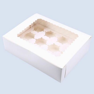 12 Holes Paper Muffin Cupcake Cake Cookie Box Storage Wedding Party Clear Window
