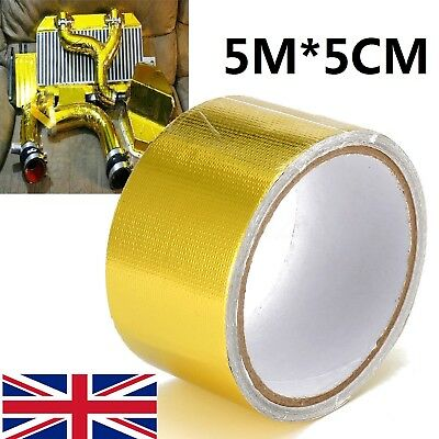 5Mx5CM Gold Roll Adhesive Reflective High Temperature Heat Shield Wrap Tape UK