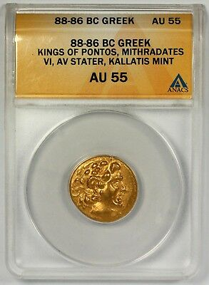 88-86 BC Greek Kings of Pontos Mithradates VI AV Stater Kallatis Mint AU55 ANACS