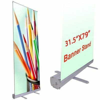 "Professional 31.5""x79"" Retractable Roll Up Banner Stand Trade Show Sign Display"