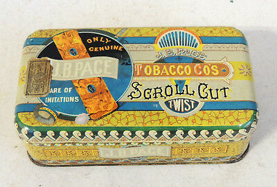 Stunning* JB PACE Scroll Cut Tobacco TIN Antique vtg Victorian Aesthetic CANCO