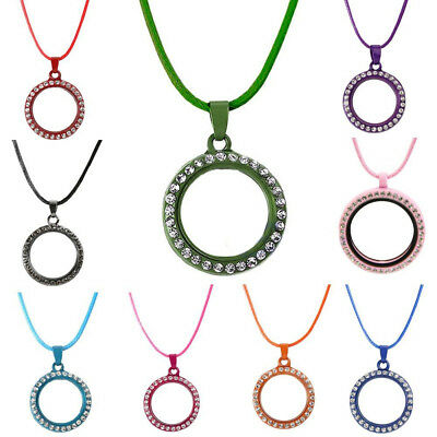 1 Set Living Memory Floating Charm Crystal Glass Round Locket Pendants Necklace