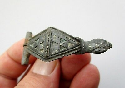 nice ancient Roman bronze enameled zoomorphic shape brooch