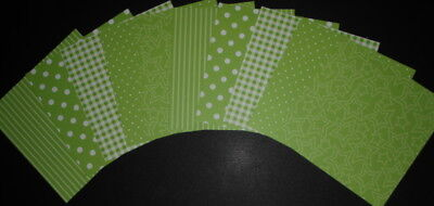 """Shades of GREEN ~ Scrapbooking/Cardmaking Papers x 10 ~15cm x 15cm ~ (6"""" X 6"""")"""