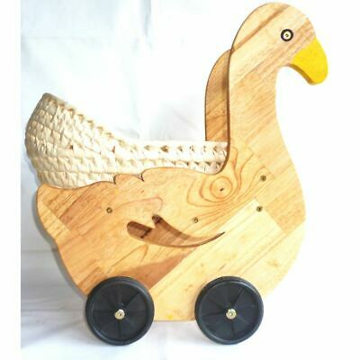 Sturdy Wooden Duckling Doll Push Pram Non-Toxic Gift Girls Carriage Basket