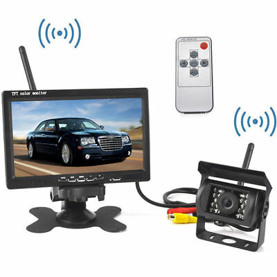 """Wireless 7"""" LCD Monitor+IR Nightvision Rear View Camera For Truck Bus Trailer RV"""