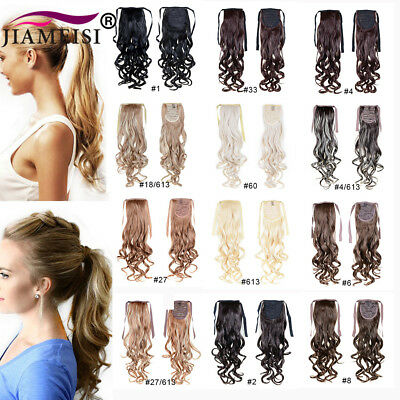Long Curly Wavy Ponytail Synthetic Wrop Around Pony Tail Clip in Hair Extensions