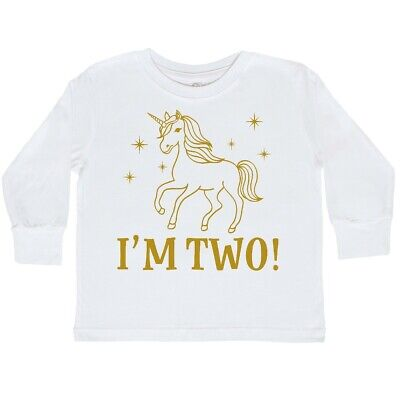 f7617a003 Inktastic 2nd Birthday Unicorn Cute Girls Toddler Long Sleeve T-Shirt Two 2  Year