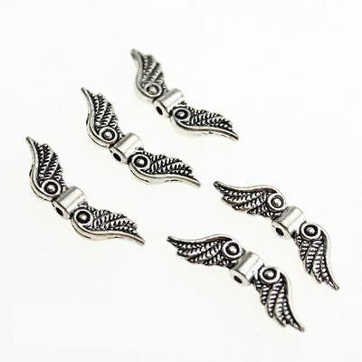 20 Pcs Silver Tone Angel Fairy Wing Charm Spacer Beads For Jewelry Making Craft