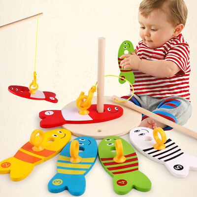 Kid Colorful Wooden Fish Set Fishing Digital Baby's Early Educational Toy
