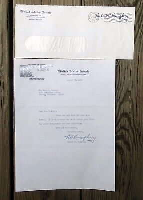 RARE AUG 31 1964 HUBERT HUMPHREY SIGNED LTR w COA VICE PRESIDENT & PRES CAND