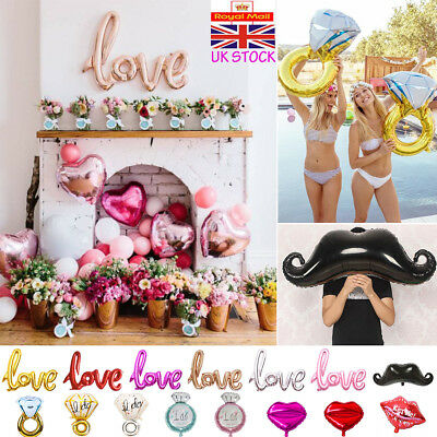 UK Love Lip Diamond Ring Foil Helium Balloons Engagement Hen Party Decoration