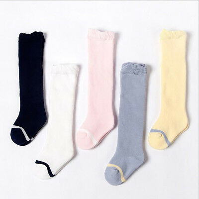 0-4 Years Girls Kids Toddler Children Knee High Casual Cotton School Socks LH