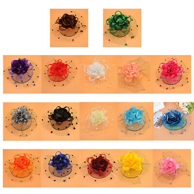 Girls Womens Kids Mesh Veil Hat Hair Clip Elegant Flower Wedding Fascinator Hat