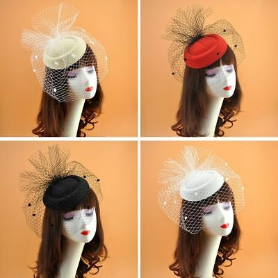 Girls Felt Fascinator Hat Topper Mesh Fishnet Veil Hair Clips Wedding Cocktail