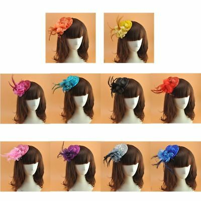 Girls Small Felt Topper Glitter Powder Fascinator Hat Flower Feather Hair Clip