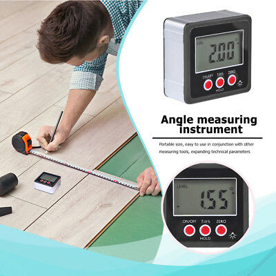 Waterproof LCD Digital Protractor Inclinometer Angle Gauge Magnet Base Reliable