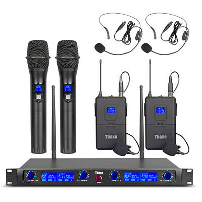 UHF 4 Channel Wireless Microphone System 2 Handheld Metal Mic Lapel 2 Headset