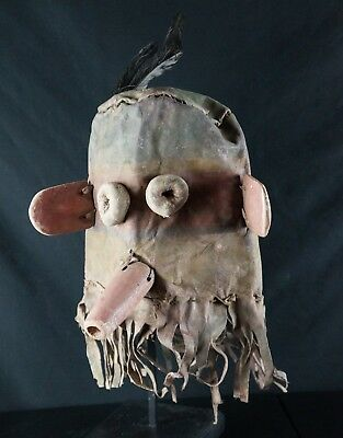 42# Antique Kachina Leather HELMET/Hood - Hopi - Native American
