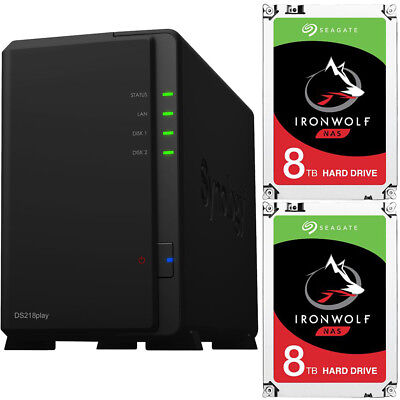 Synology DS218play DiskStation with 16TB (2 x 8TB) Seagate Ironwolf NAS Drives