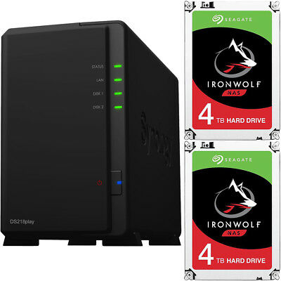 Synology DS218play DiskStation with 8TB (2 x 4TB) Seagate Ironwolf NAS Drives