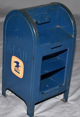 "Vintage Metal USPS Blue Mailbox Bank 7 1/4"" Tall COLLECTORS PIGGY BANK"