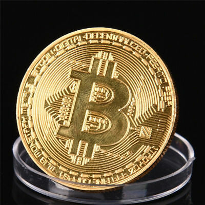 5x Gold Bitcoin Commemorative Round Collectors Coin Bit Coin Gold Plated Coins