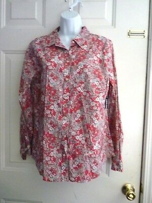 Woman Lg old Navy Red Floral daisy's wild flowers Long sleeve FALL color eu
